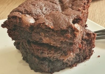 part coupée brownie patate douce